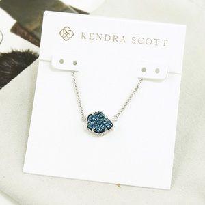Kendra Scott Tess Necklace Blue Drusy Silver